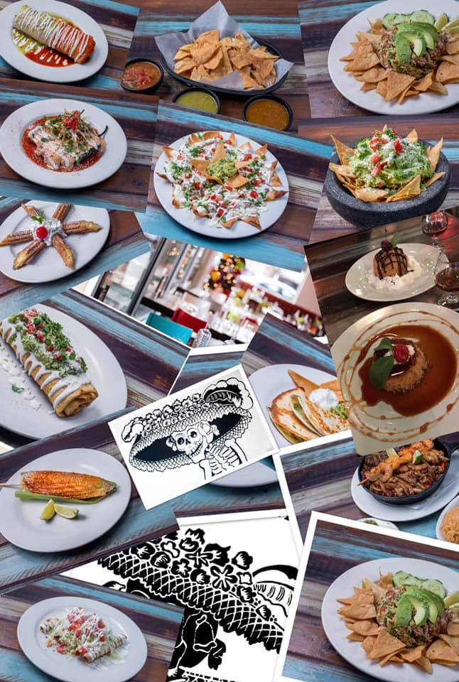A variety of Mexican food dishes.