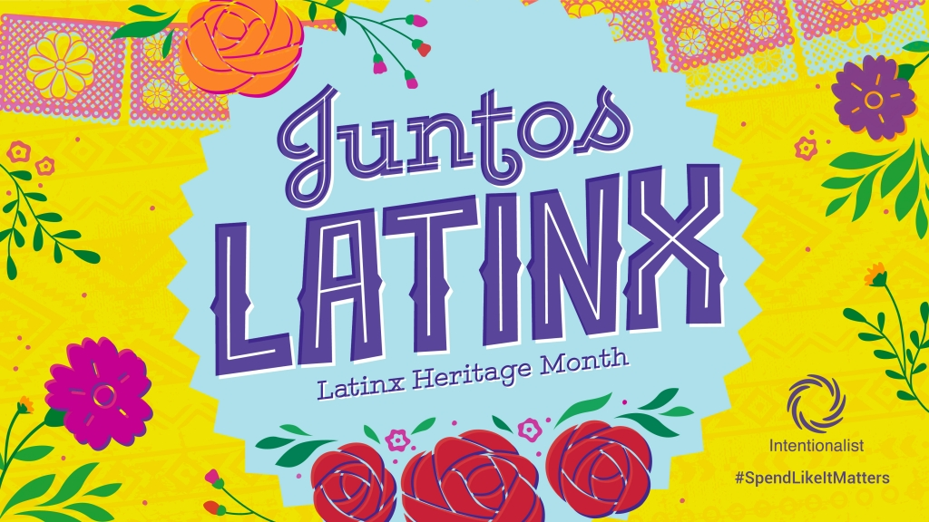 A colorful image with floral illustrations that reads Juntos Latinx - Latinx Heritage Month.
