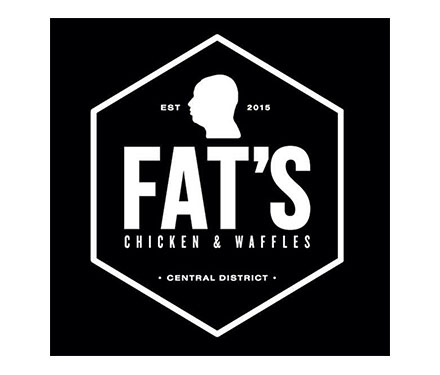 Fat's Chicken and Waffles logo - black background, white font.