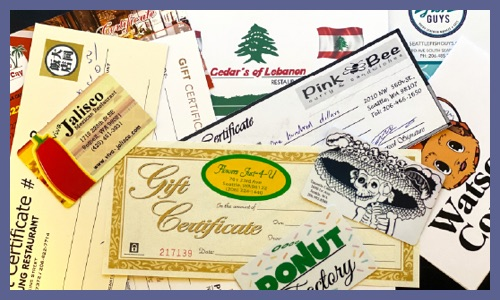 Image of local gift certificates