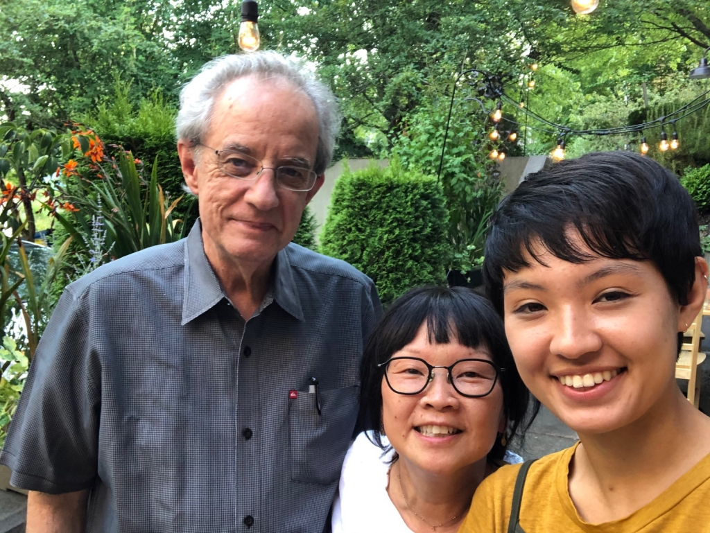 From left to right: John Bisbee, Binko Chiong-Bisbee, and their daughter Aya Bisbee. KOBO Seattle.