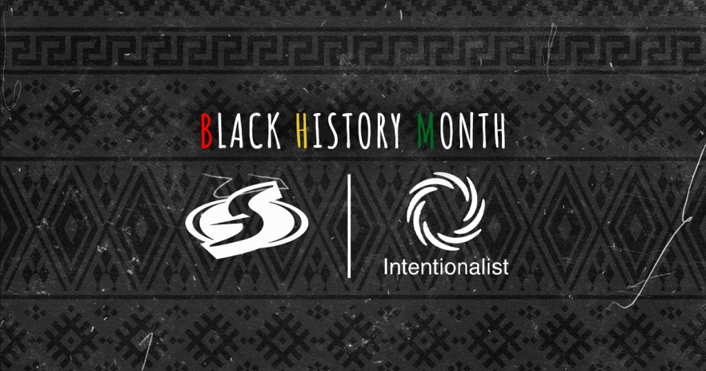 Text reads: Black History Month set above the Seattle Storm and Intentionalist logos. Background is a black and grey pattern.