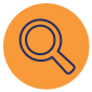 Orange icon with magnifying glass