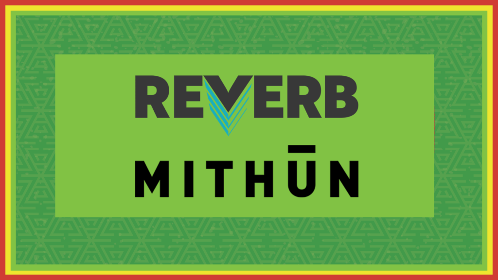 Logos for the companies Reverb and Mithun on a green background.