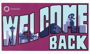 Welcome Back in light blue text with Seattle landscape on a maroon background